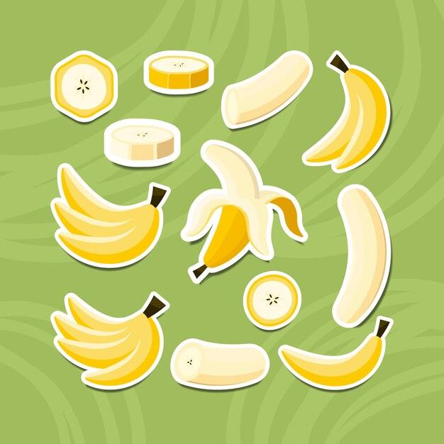 Zestaw Naklejek Z Owocami Banana, W Całości, Przecięty Na Pół, Pokrojony Na Kawałki Banana. Premium Wektorów