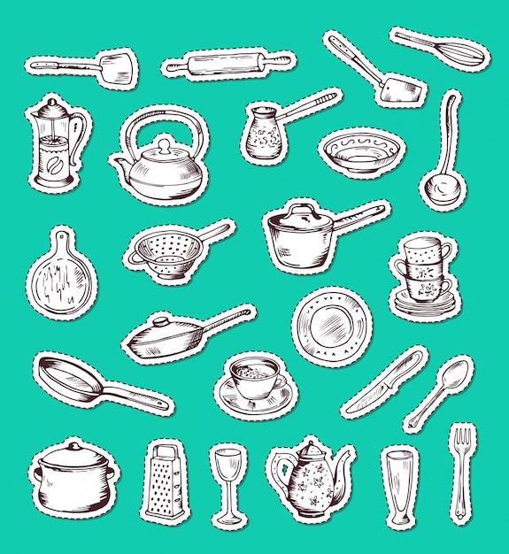 Zestaw naklejek z ręcznie rysowane naczynia kuchenne na zielono Premium Wektorów