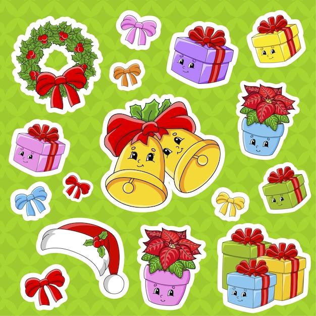 Zestaw Naklejek Z Uroczymi Postaciami Z Kreskówek. Motyw Bożego Narodzenia. Premium Wektorów