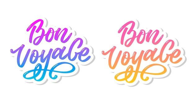 Zestaw Napisów Bon Voyage Hand Premium Wektorów
