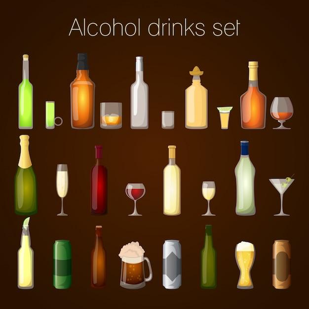 Zestaw Napojów Alkoholowych Premium Wektorów