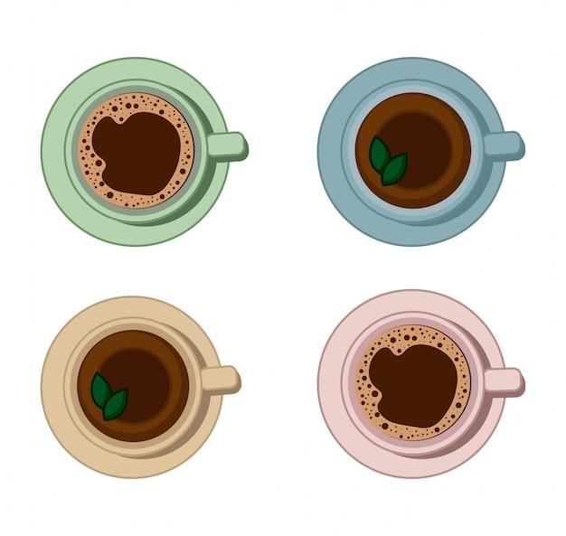 Zestaw Napojów Kawowych I Herbacianych. Premium Wektorów