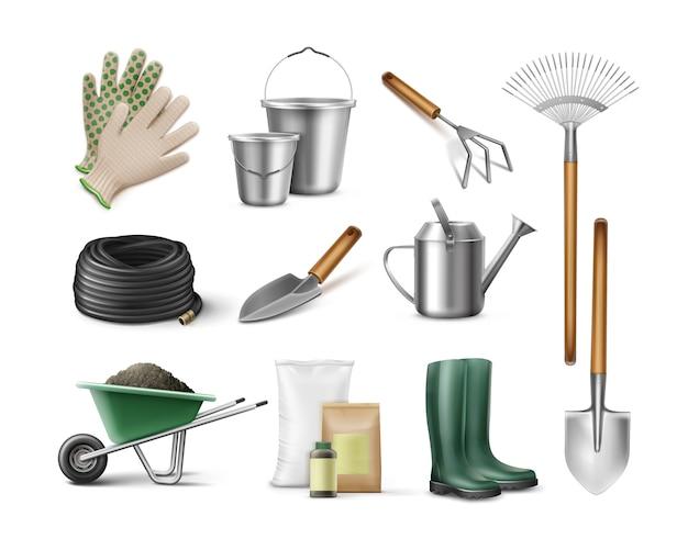Zestaw Narzędzi Do Ogrodnictwa I Ogrodnictwa Darmowych Wektorów