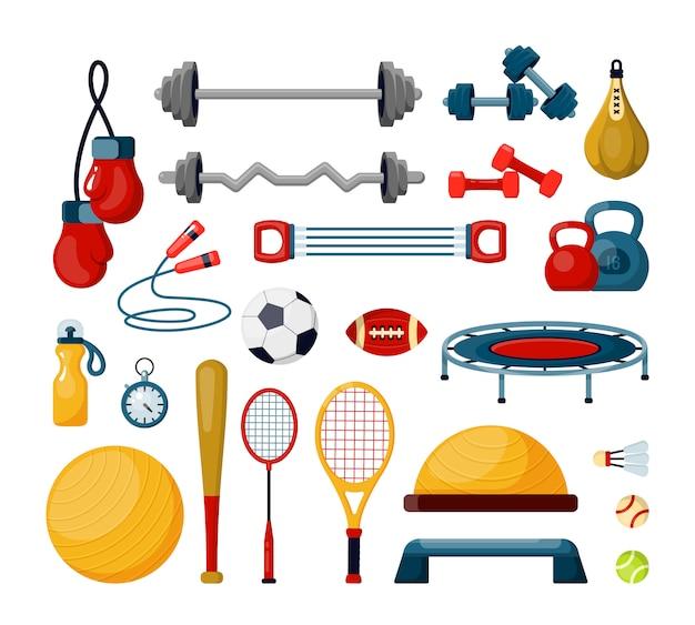 Zestaw Narzędzi Fitness Płaskie Ilustracje Wektorowe. Różne Piłki Premium Wektorów