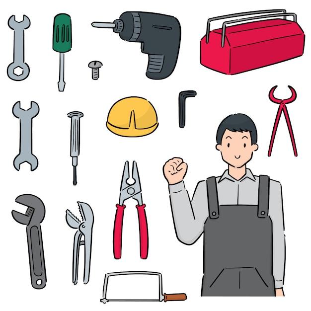 Zestaw narzędzi mechanicznych i naprawczych Premium Wektorów