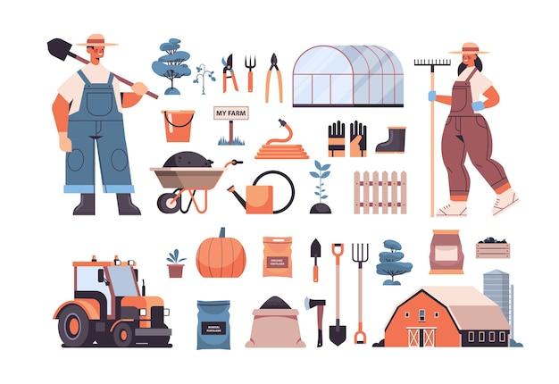 Zestaw Narzędzi Ogrodniczych I Rolniczych Sprzęt Ogrodniczy I Rolników W Jednolitej Ekologicznej Koncepcji Rolnictwa Ekologicznego Poziomej Ilustracji Wektorowych Premium Wektorów
