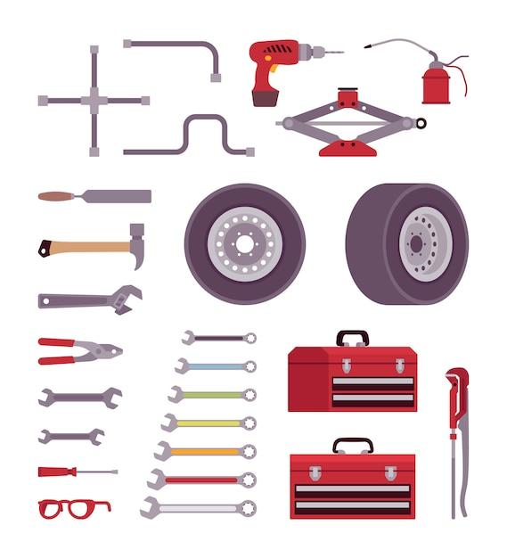 Zestaw narzędzi samochodowych Premium Wektorów