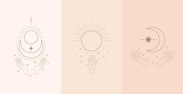 Zestaw Niebiańskiego Talizmanu Rękami Kobiety. Ilustracja W Stylu Boho Premium Wektorów