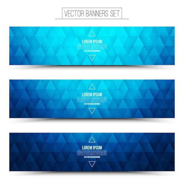 Zestaw Niebieski Geometryczne Banery Internetowe Premium Wektorów