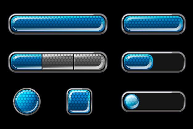 Zestaw Niebieskich Błyszczących Przycisków Interfejsu Użytkownika. Darmowych Wektorów