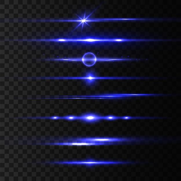 Zestaw Niebieskich Flar Z Poziomymi Soczewkami, Wiązki Laserowe, Piękne Rozbłyski światła. Promienie światła. Blask Linii Na Przezroczystym Tle, Jasny Blask. świecące Smugi. świetlisty Abstrakcyjny Musujący. Ilustracja Premium Wektorów