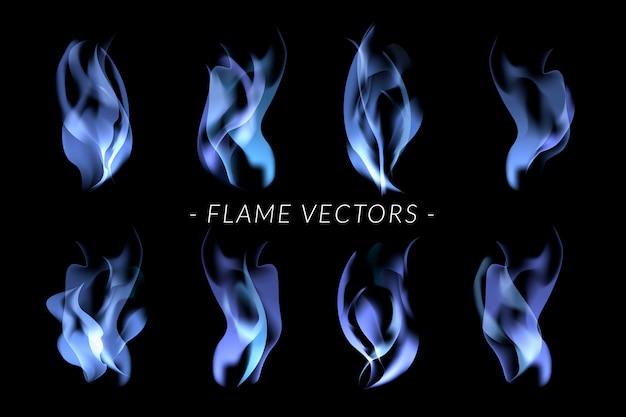 Zestaw Niebieskich Płomieni Darmowych Wektorów