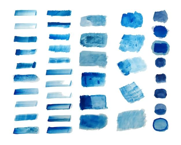 Zestaw Niebieskim Tle Akwarela Tekstury Ręcznie Malowane Darmowych Wektorów