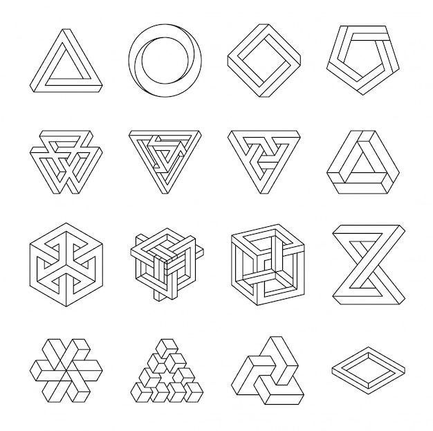 Zestaw niemożliwych kształtów. złudzenie optyczne. wektorowa ilustracja odizolowywająca na bielu. święta geometria. Premium Wektorów