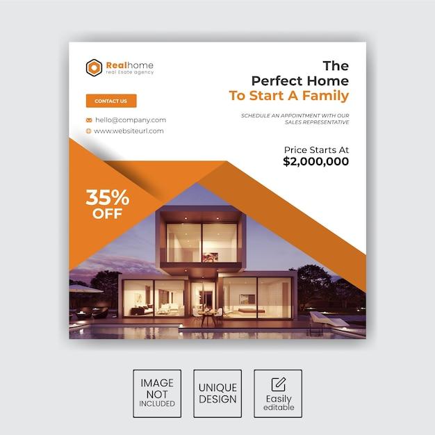 Zestaw-nieruchomości-sprzedaż-domu-instagram-social-media-post-design Premium Wektorów