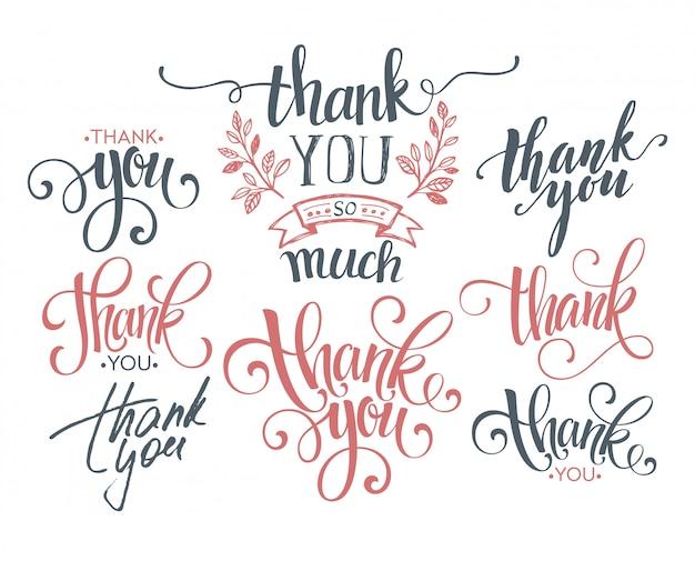 Zestaw Niestandardowych Napisów Dziękuję Ręcznie. Premium Wektorów