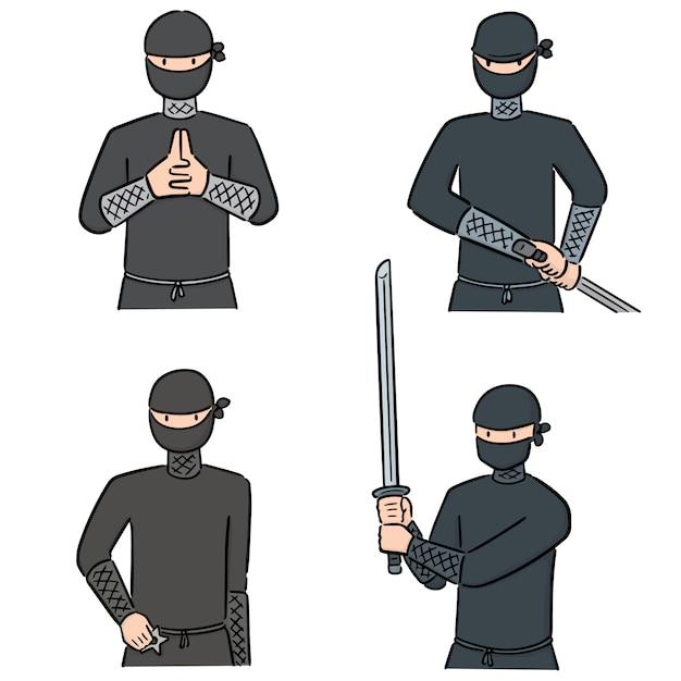 Zestaw Ninja Premium Wektorów