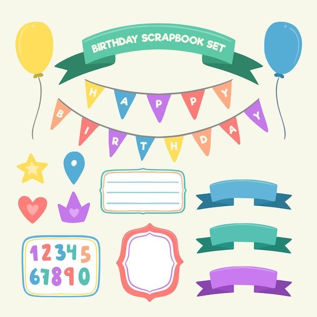 Zestaw Notatnik Urodziny Płaska Konstrukcja Premium Wektorów