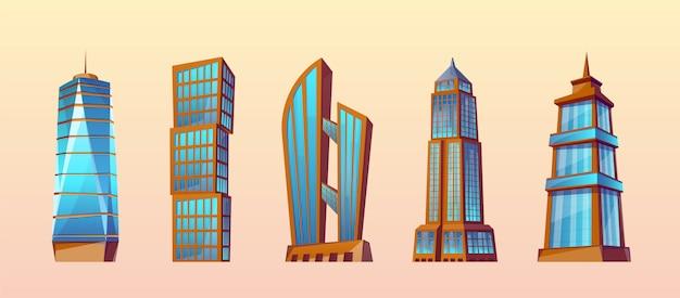 Zestaw nowoczesnych budynków w stylu cartoon. wieżowce miejskie, z zewnątrz. Darmowych Wektorów