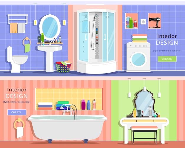 Zestaw Nowoczesnych Graficznych Wnętrz łazienek: Wanna, Kabina Prysznicowa Premium Wektorów