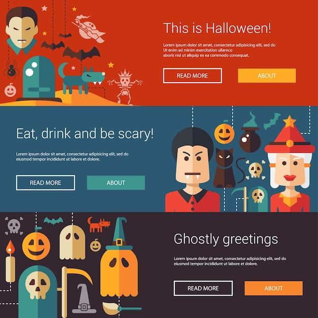 Zestaw Nowoczesnych Ilustracji Halloween, Banerów, Nagłówków Z Ikonami I Postaciami. Ulotki Na Imprezę Premium Wektorów