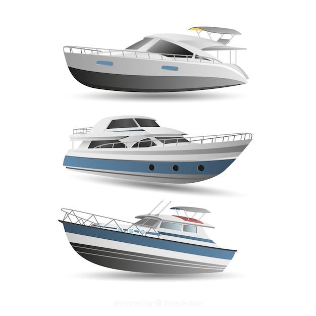 Zestaw Nowoczesnych łodzi Darmowych Wektorów