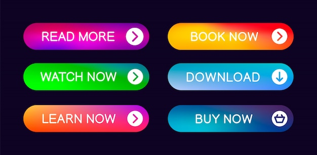 Zestaw Nowoczesnych Streszczenie Sieci Web Przycisków Premium Wektorów