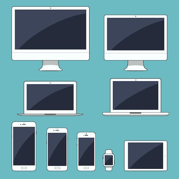 Zestaw nowoczesnych urządzeń elektronicznych Premium Wektorów