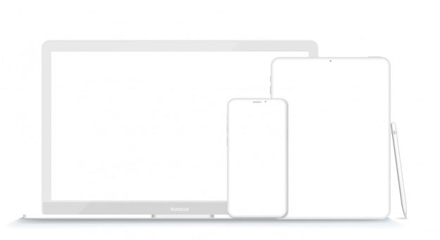 Zestaw Nowoczesnych Urządzeń Glinianych: Laptop, Tablet I Telefon. Ilustracja Premium Wektorów