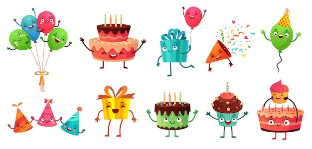 Zestaw Obchodów Urodzin Kreskówka. Balony Z śmieszne Twarze, Tort Urodzinowy I Zestaw Ilustracji Maskotka Prezent Premium Wektorów