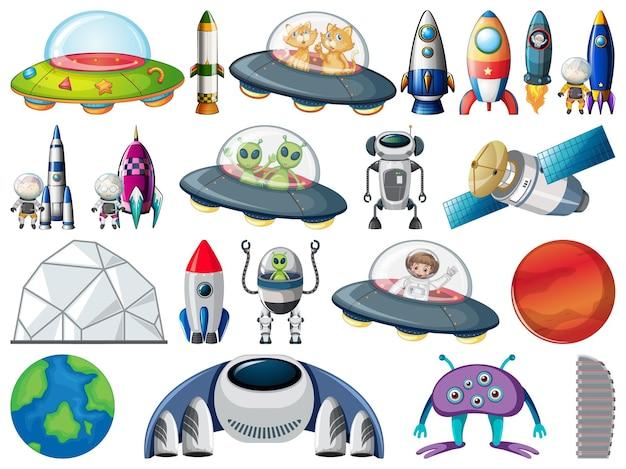 Zestaw Obiektów Kosmicznych I Elementów Na Białym Tle Darmowych Wektorów