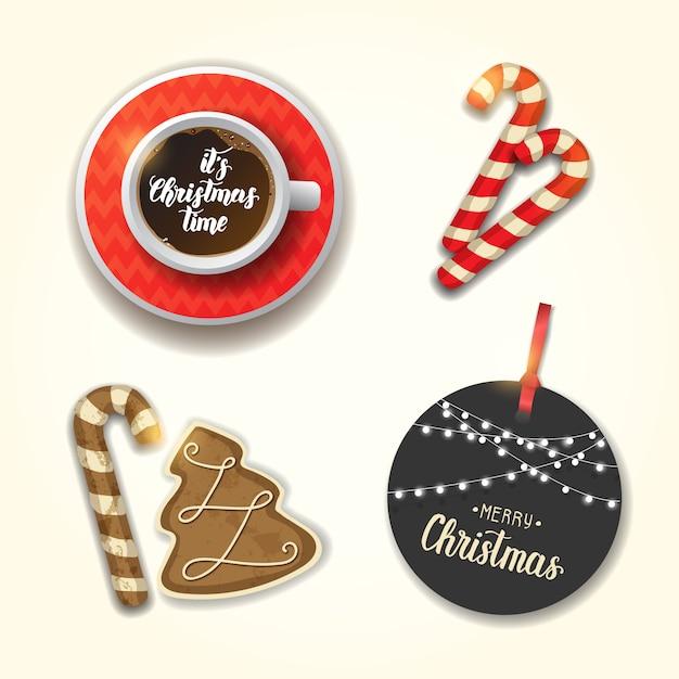 Zestaw obiektów świątecznych. filiżanka kawy, świąteczne pierniczki, laska i przywieszka z życzeniami. ręcznie wykonany napis. wesołych świąt i szczęśliwego nowego roku. Premium Wektorów
