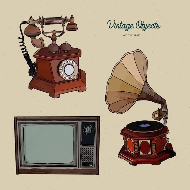 Zestaw Obiektów Vintage, Ręcznie Rysować Szkic. Premium Wektorów