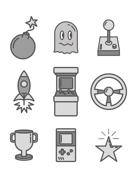 Zestaw obiektów związanych z grami wideo w stylu płaskiej Darmowych Wektorów