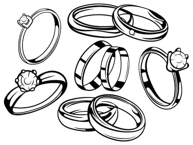 Zestaw Obrączek ślubnych. Kolekcja Pierścionków Zaręczynowych. Symbol Miłości. Premium Wektorów