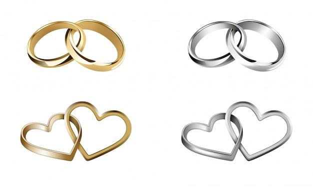 Zestaw Obrączek ślubnych. Pierścienie W Kształcie Serca I Okrągłe Premium Wektorów