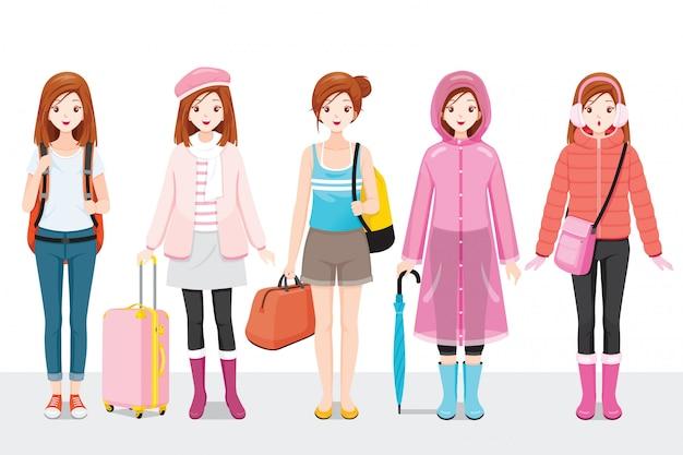 Zestaw Odzież Kobieta Ubrana W Różnych Sezonach Premium Wektorów