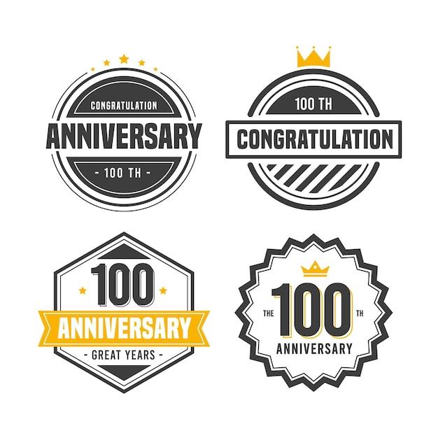 Zestaw Odznak 100 Rocznica Darmowych Wektorów