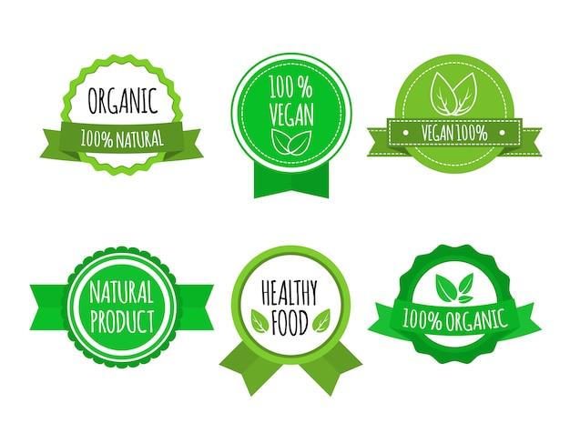 Zestaw Odznak Bio Zdrowej żywności. Wegańskie, Organiczne Logo. Ilustracji Wektorowych Premium Wektorów