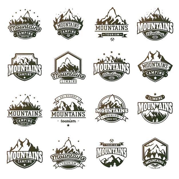 Zestaw odznak górskich Premium Wektorów