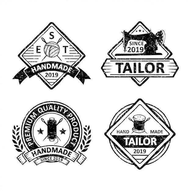Zestaw odznak krawców vintage, emblematów i logo Premium Wektorów