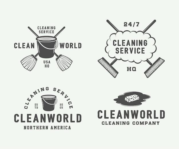 Zestaw Odznak Logo Retro Czyszczenia Premium Wektorów