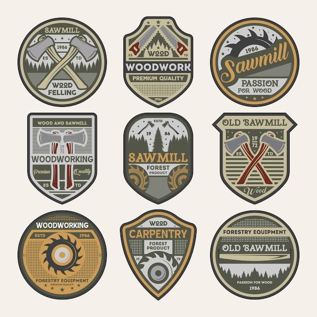 Zestaw Odznak Na Białym Tle Firmy Stolarskie Vintage Premium Wektorów