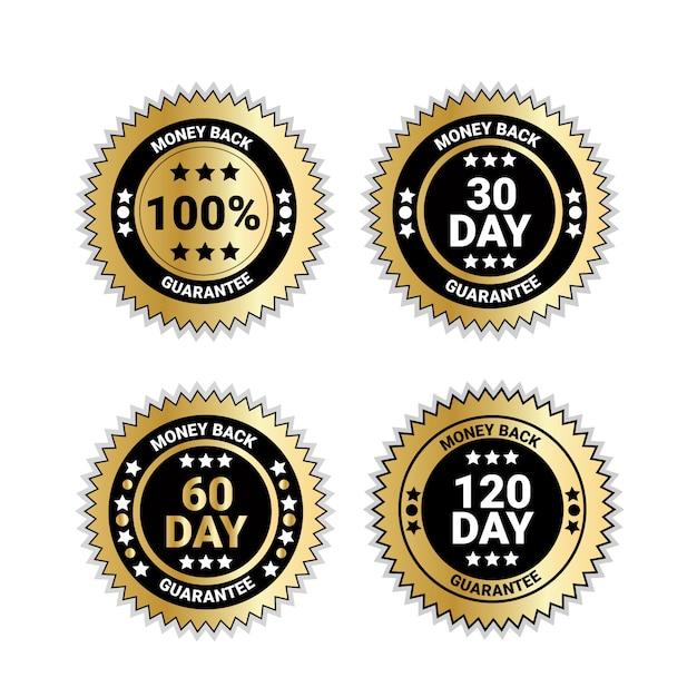 Zestaw odznak pieniądze z powrotem z gwarancją złote medale na białym tle Premium Wektorów