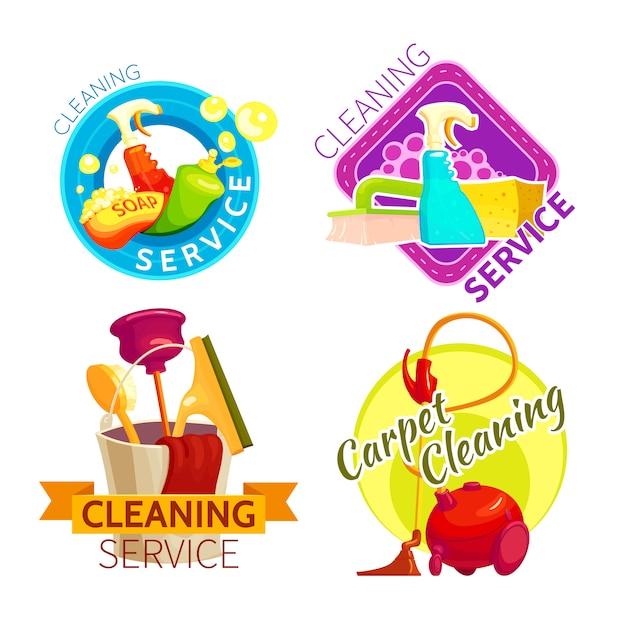 Zestaw Odznak Usługi Czyszczenia Darmowych Wektorów
