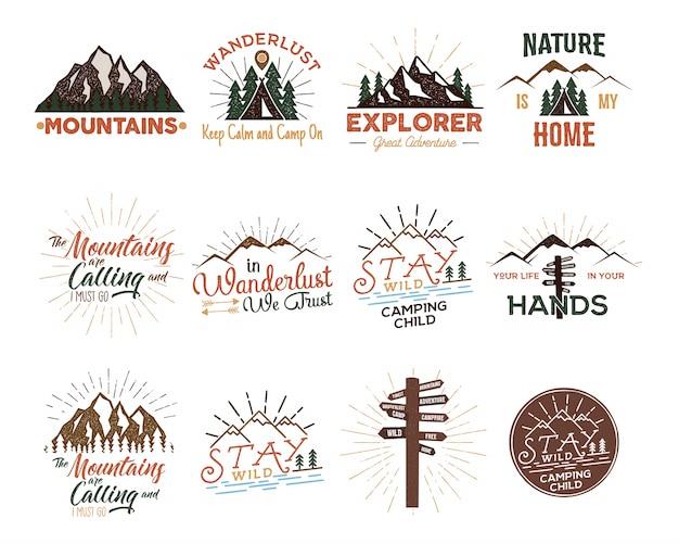 Zestaw odznak vintage travel Premium Wektorów