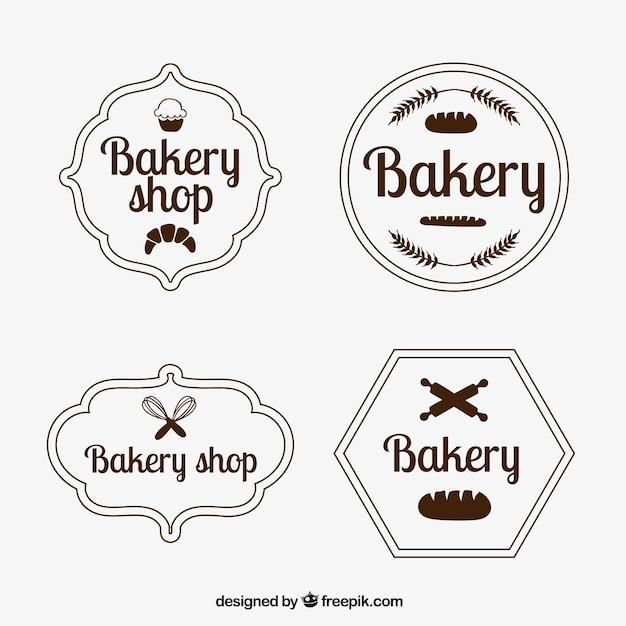 Zestaw odznaki piekarniczych archiwalne Darmowych Wektorów