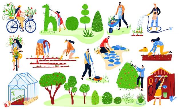 Zestaw Ogrodników, Wiosenny Ogród Ekologiczny, Rośliny I Gadernery Pracują Ilustracji Rolnictwa Kobiety I Mężczyźni Podlewający Rośliny. Premium Wektorów