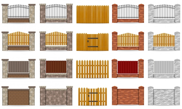 Zestaw ogrodzenia wykonane z ilustracji wektorowych drewniane kamienne cegły Premium Wektorów