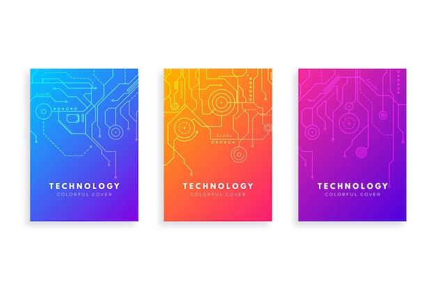 Zestaw Okładek Gradientu Technologii Darmowych Wektorów